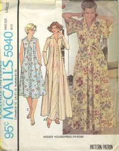 An original ca. 1978 McCall's pattern 5940.  Misses' Housedress or Robe: Loose fitting housedress or robe has collar, zipper in front opening, pockets in side seams, and tie belt. A has long fitted sleeves. B has short flared sleeves.