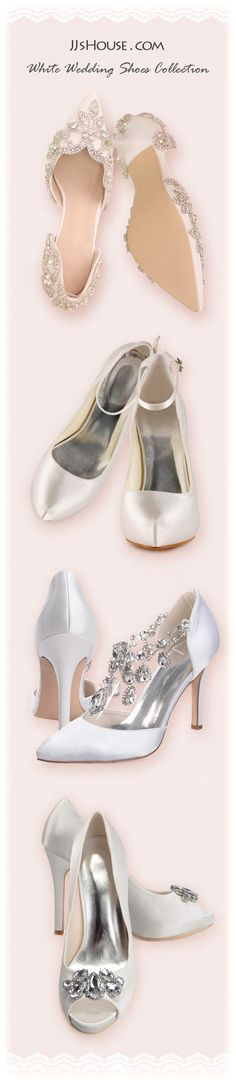 Classic white wedding shoes that you will never want to take off! #JJsHouse