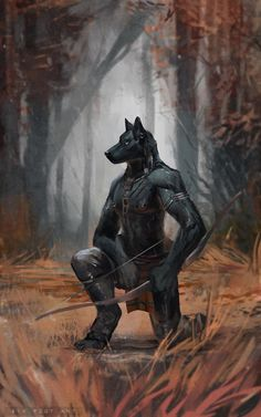 Hunt by sixfoot-ant on DeviantArt Fantasy Heroes, Fantasy Races, Fantasy Art, Dnd Characters, Fantasy Characters, Character Art, Character Design, Wolf Images, Werewolf Art