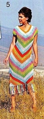 """. Яркое платье """"ЦВЕТНАЯ ДИАГОНАЛЬ"""". - Все в ажуре... (вязание крючком) - Страна Мам Crochet Long Dresses, Crochet Clothes, Crochet Woman, Knit Crochet, Knitting Patterns, Crochet Patterns, Pattern Cutting, Crochet Designs, Crochet Projects"""