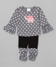 Victoria Kids Silver Polka Dot Elephant Tee & Leggings - Infant & Toddler by Victoria Kids #zulily #zulilyfinds