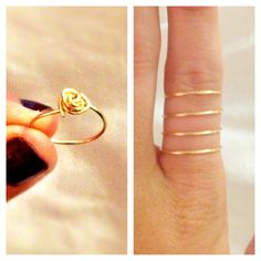 My own DIY copper wire love knot & spiral rings!