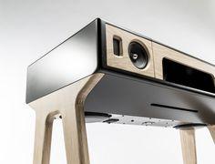 15 Stylish Speaker Stands Ideas for Modern Designs – My Life Spot Wooden Speakers, Diy Speakers, Bluetooth Speakers, Homemade Speakers, Audio Design, Speaker Design, Retro Design, Modern Design, Metal Bending