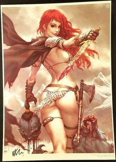 RED SONJA KENDRICK KUNKKA LIM SDCC 2019 EXCLUSIVE SIGNED PRINT CONAN SHE-DEVIL