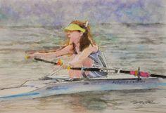 Acoustic Drawings The Shinji Ogata Gallery: A Girl Paddling on the Brisbane River  ブリスベン川でパドリン...