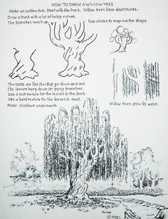 How to Draw Worksheets for Young Artist: How to Draw a Willow Tree.