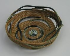 This vessel was woven for my good  friends, Paul and Ellen.          I've spent many  Summers teaching lavender classes at their farm and wove this vessel as a gift  representing our friendship and lives intertwined.