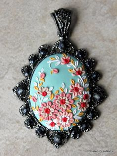 Elegant Floral Applique Polymer Clay Pendant in by charancreations