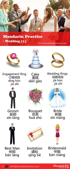 Wedding vocabularies in Chinese.For more info please contact:sophia.zhang@mandarinhouse.cn The best Mandarin School in China.