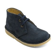 Navy Blue Suede Lace-up Classic Children's Boots