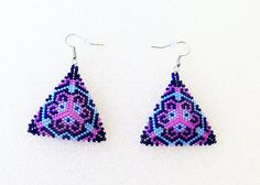 Hand Beaded Triangle Shaped Pierced Dangle Earrings In Hot Pink, Light Blue and Cobalt Blue
