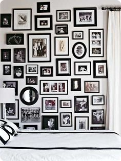 I have so many black and whites to display I love this wall