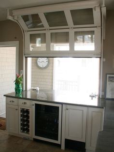Pass thru window---Architectural Details - traditional - kitchen - new york - Rice and Brown Architects Relaxing Outdoor Kitchen Ideas for Happy Cooking & Lively Party House Design, New Homes, House Plans, Glass Garage Door, Kitchen New York, House, Traditional Kitchen, Home, Minimalist Home