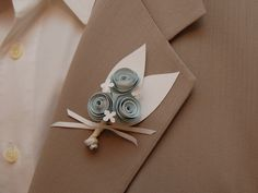 Paper Flower Boutonniere - Baby blue and white paper flowers