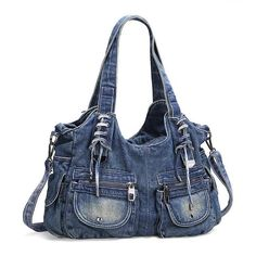 If you are searching for a casual yet stylish large tote bag, then you have found it! This big denim jeans bag is incredible! With pockets, zippers and lace-up details you will LOVE. Beautifully faded and floppy with an extra clip-on crossbody strap for extra convenience. This big roomy bag can handle your books, table