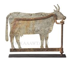 Antique Weathervane, Cow, Sheet Iron, 19th Century, facing right view