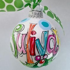Color-filled name ornament in brights. New design. Great for first christmas, toddler, kids, teens, & adults, hostess gift, birthday gift, reveal parties, etc. I've added a bit of holly for color & cu