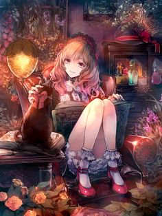 ✮ ANIME ART ✮ witch girl. . .witch in training. . .reading. . .spell book. . .lolita dress. . .lace. . .ruffles. . .headdress. . .ribbons. . .ankle socks. . .potions. . .witch hat. . .flowers. . .cat. . .fantasy. . .fairy tale. . .cute. . .kawaii