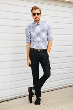 Men's Light Blue Gingham Longsleeve Shirt, Brown Leather Belt, Black Chinos, Brown Suede Derby Shoes, and Grey Socks