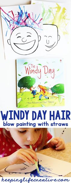 spring activities for kids An easy art project for kids to make this spring- a Windy Day Hair with straws! A great craft to accompany the classic kids book Windy Day! Weather Activities for Kids Weather Activities Preschool, Spring Activities, Preschool Activities, Book Activities, Preschool Art Lessons, Preschool Art Projects, Seasons Activities, Classroom Art Projects, Preschool Printables