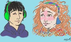 Ok this drawing is probably not to proportion and it's super sketchy but i don't care, it's Eleanor and Park Eleanor And Park, Rainbow Rowell, Doodle Drawings, Cool Artwork, Doodles, Fan Art, Illustrations, Shorts, Books