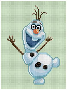 PDF Cross Stitch pattern Olaf Frozen by PDFcrossstitch Cross Stitch Charts, Cross Stitch Designs, Cross Stitch Patterns, Cross Stitching, Cross Stitch Embroidery, Frozen Cross Stitch, Disney Stich, Yarn Trees, Knitting Charts