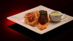 Annie and Jasons' Fillet Steak with Sweet Potato Purée, Polenta Crusted Onion Rings and Blue Cheese Sauce from Season 5 of MKR: http://gustotv.com/recipes/lunch/fillet-steak-sweet-potato-puree-polenta-crusted-onion-rings-blue-cheese-sauce/