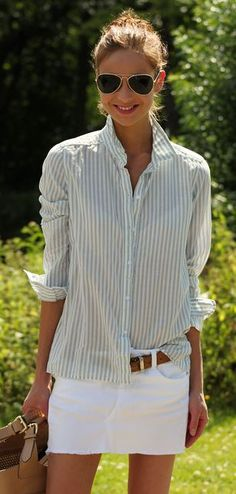 Nice stripe shirt for spring time and mini white skirt with brown belt.