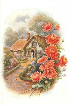 cottage with lady in doorway, boxwood bordered path, orange/red mums border right Dream Pictures, Pictures To Paint, Christmas Art, Christmas Greetings, Vintage Postcards, Vintage Images, Cottage Art, Decoupage Vintage, China Painting