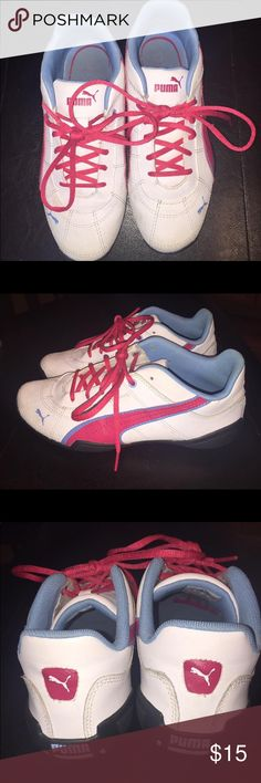 Puma sneakers-youth size 3.5 EUC Pink, blue and white PUMA sneakers.  Hardly worn, they are just a bit too narrow for my daughters feet. Excellent shape and very clean. Smoke free home, no odor Puma Shoes Sneakers