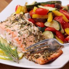 """One-Pan Lemon Herb Salmon & Veggies"" - i'd rather do russet potatoes and green beans with the mushrooms. i'd roast the zucchini and bell peppers in a separate pan bc mom likes them but i don't. she also doesn't like fish, so....chicken for her instead?"