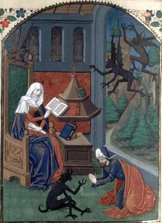 Bibliothèque nationale de France, Français 27, f. 259v ('a philosopher being harassed by demons'). St Augustine, De civitate dei. Rouen, 3rd quarter of the 15th century.    If the philosopher is the seated woman, she seems too engrossed in her reading to notice the demons.