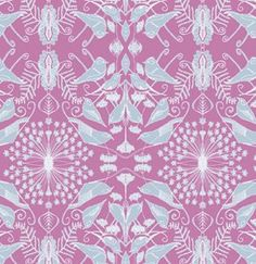 Fuchsia Birds on Vine  PWTG149 by scruffyquilts on Etsy
