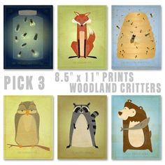Woodland critter prints for eastons nursery! Must get the lighting bugs and bees to match the other prints!