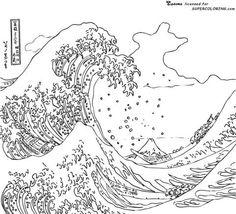 La grande vague de Kanagawa par Hokusai Coloriage