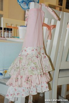 Pink Tiered Ruffled Apron for Little Girls