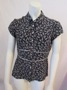 Max Mara Weekend Black Floral 100% Silk Cap Sleeve Career Button Front Blouse M #MaxMara #Blouse #Career