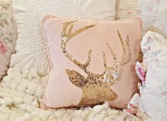 Santa Picture, Reindeer Pillows, and Victoria Station Rose Gold Christmas Decorations, Christmas Rose, Shabby Chic Christmas, Christmas Candles, Christmas Pillow, Vintage Christmas, Nordic Christmas, Modern Christmas, Christmas Colors