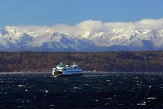 View of Olympic Mountains and Puget Sound from Edmonds, WA. Amazing Photos, Cool Photos, Olympic Mountains, Take A Breath, Windy Day, Olympics, Snow, Landscape, Travel