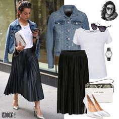 Outfit Ideen Schwarzer Faltenrock , You might also decide that one person at Mode Outfits, Skirt Outfits, Casual Outfits, Fashion Outfits, Black Pleated Skirt Outfit, Pleated Skirts, Midi Skirt, White Outfits, Fashion Mode