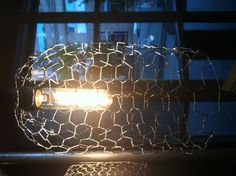 Chicken wire over a lamp shade frame could have a variety of chicken wire lamp shade rustic mozeypictures Gallery