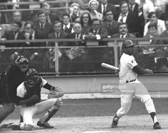 N.Y. Mets vs. Baltimore Orioles. 1969 World Series. Game 3., With a mighty swing of the bat, Tommie Agee powders ball for a leadoff homer in the first inning.