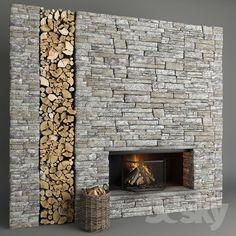Fireplace and firewood 5 Stone Fireplace Wall, Cottage Fireplace, Fireplace Design, River Rock Fireplaces, Stacked Stone Fireplaces, Barn Kitchen, Industrial Interiors, Boho Living Room, Easy Home Decor