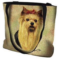 """Artwork by world renowned animal artist, Robert May. 17"""" width x 17"""" length 32"""" black straps. Jacquard woven 100% cotton art tapestry. Not a print. Design is on both sides of the tote bag. Fully lined"""