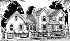European Style House Plans - 1593 Square Foot Home , 2 Story, 3 Bedroom and 2 Bath, 2 Garage Stalls by Monster House Plans - Plan 11-156