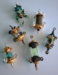 Bead Lanterns created by Renee Webb Allen.  Small Stuff Design. Would be great to light the fairys way