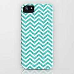Teal Glitter Chevron iPhone & iPod Case $35.00