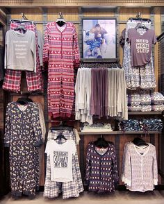 Take a look at these cute pajamas from Cosmic Love. Browse through different styles of thermals, onesies, flannel pants, and more to keep you comfy while you sleep. Clothing Store Displays, Clothing Store Design, Clothing Boutique Interior, Fashion Retail Interior, Fashion Displays, Mobile Boutique, Store Interiors, Retail Store Design, Kids Store