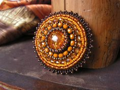 Bead embroidery Brooch Beadwork Brooch Amber от MisPearlBerry