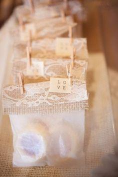 burlap and lace favors